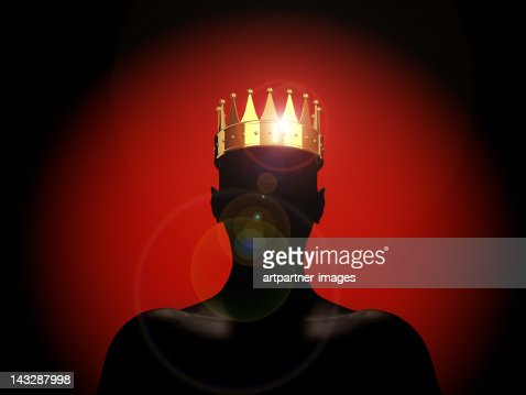 Golden crown on a male silhouette - The King