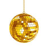 Golden disco ball on white background, 3d render