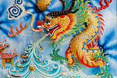 Golden dragon on Chinese temple wall.