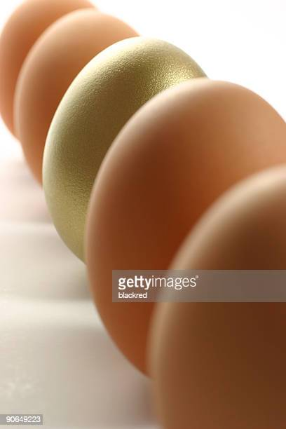 Golden Egg Standing Out from the Crowd of Ordinary Eggs