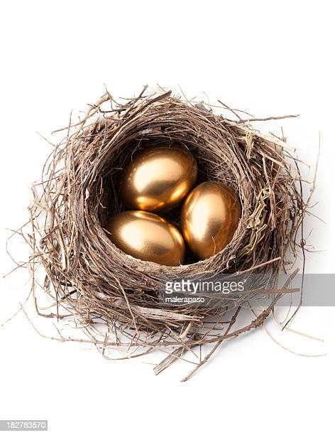 Goldene Eier im nest.