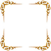 Golden elements of carved frame on white background -Clipping Path