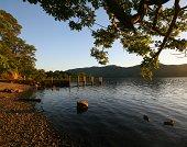 Golden evening light at the lake shore
