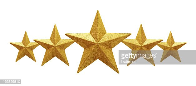 Golden Five Stars isolated on white background