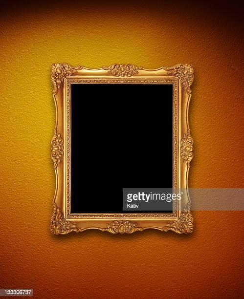 Golden Frame on Colored Wall