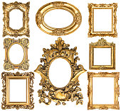 Golden frames isolated on white background. Baroque style antique objects. Vintage collection. Scrapbook elements