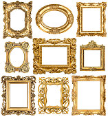 Golden frames isolated on white background. Baroque style vintage objects. Collection of antique picture frames
