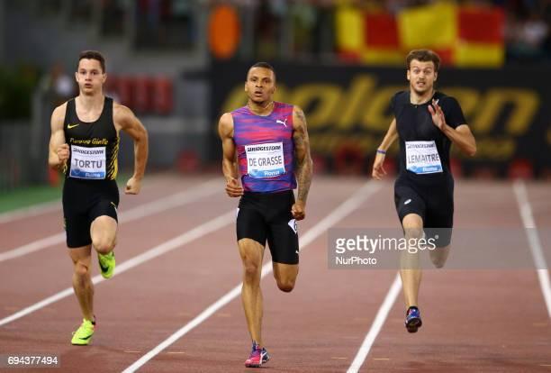 Golden Gala Iaaf Diamond League Rome 2017 Filippo Tortu Andre de Grasse and Cristophe Lemaitre compete in 200m Men at Olimpico Stadium in Rome Italy...