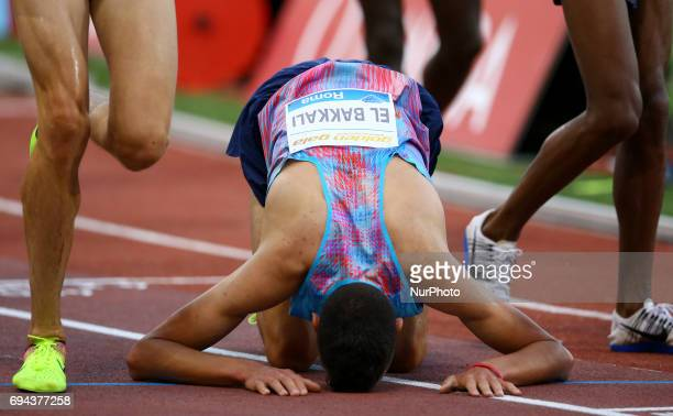 Golden Gala Iaaf Diamond League Rome 2017 Soufiane El Bakkali prying after competing in 3000m Steeplechase Men at Olimpico Stadium in Rome Italy on...