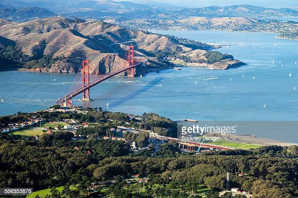Golden Gate and The Presidio aerial view sunset