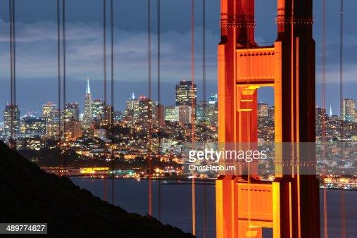 街のゴールデンゲートブリッジとサンフランシスコ、カリフォルニア州、アメリカ)