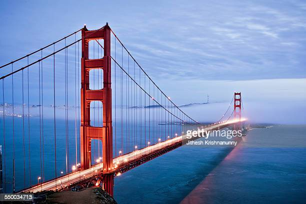 Golden Gate Bridge and evening fog