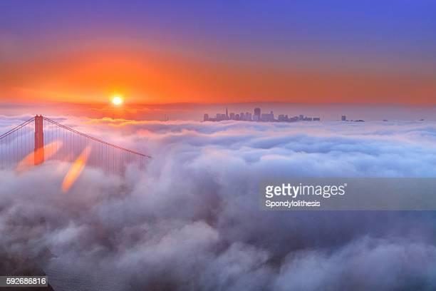 Golden Gate Bridge and Low Fog at sunrise