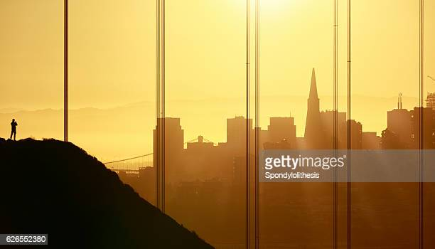 Golden Gate Bridge and San Francisco Downtown at Sunrise