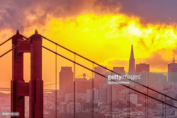Golden Gate Bridge and San Francisco Downtown Skyline at Sunrise
