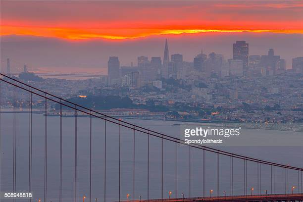 Golden Gate Bridge and San Francisco Skyline at Sunrise