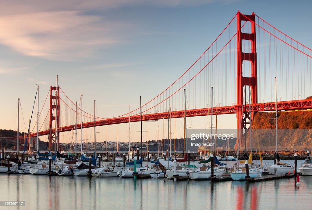 Golden Gate Bridge and Yachts in Marina