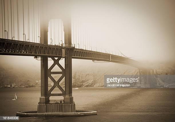 Golden Gate Bridge covered in Fog Sepia