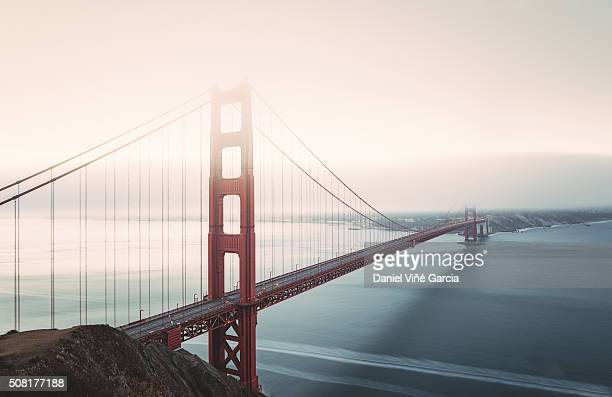 Golden Gate Bridge Over San Francisco Bay In Foggy Weather