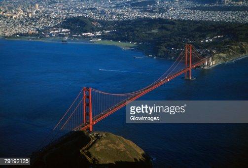 Golden Gate Bridge, San Francisco, California, Aerial view : Stock Photo