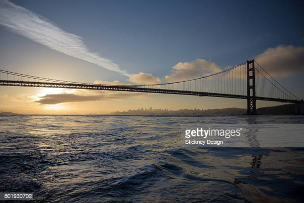 Golden Gate Bridge Sunrise From A Boat On San Francisco Bay