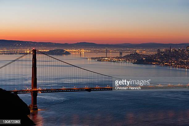 Golden Gate Bridge with San Francisco at night, California, USA, America