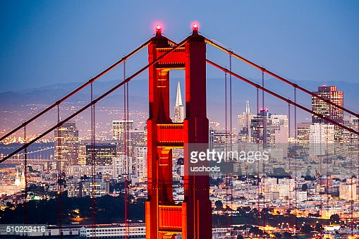 Golden Gate Bridge with San Francisco Cityscape Close up
