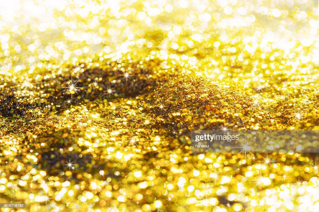 Golden glitter background : Stock Photo