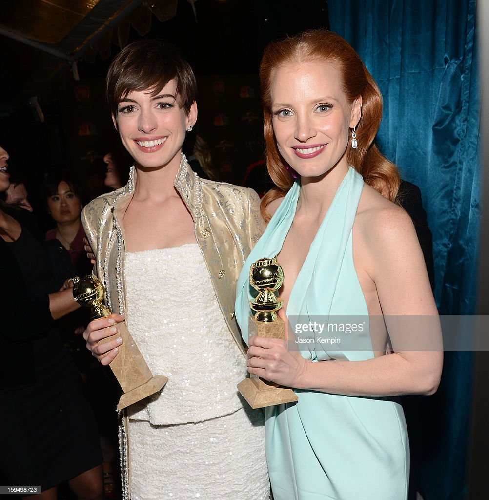 Golden Globe Award winners <a gi-track='captionPersonalityLinkClicked' href=/galleries/search?phrase=Anne+Hathaway+-+Atriz&family=editorial&specificpeople=11647173 ng-click='$event.stopPropagation()'>Anne Hathaway</a> and <a gi-track='captionPersonalityLinkClicked' href=/galleries/search?phrase=Jessica+Chastain&family=editorial&specificpeople=653192 ng-click='$event.stopPropagation()'>Jessica Chastain</a> attend the NBCUniversal Golden Globes viewing and after partyheld at The Beverly Hilton Hotel on January 13, 2013 in Beverly Hills, California.