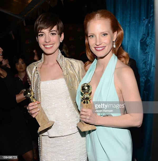 Golden Globe Award winners Anne Hathaway and Jessica Chastain attend the NBCUniversal Golden Globes viewing and after partyheld at The Beverly Hilton...