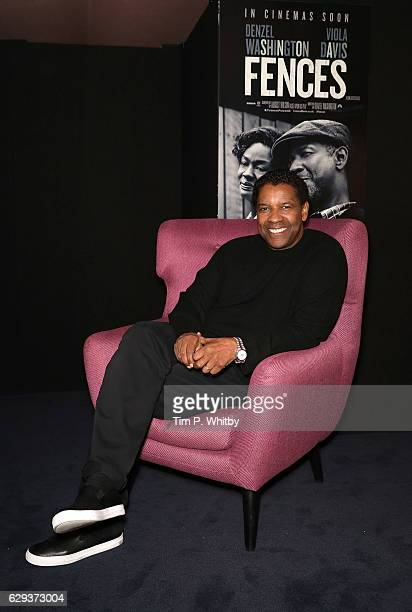 Golden Globe Nominee Denzel Washington poses for a photo prior to attending a Q and A for 'Fences' at The Curzon Mayfair on December 12 2016 in...