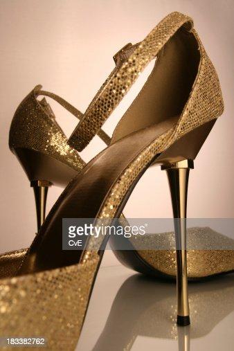 golden highheels stock photo getty images. Black Bedroom Furniture Sets. Home Design Ideas