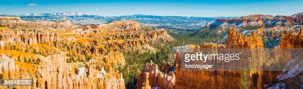 Golden hoodos green forests panorama Bryce Canyon National Park Utah
