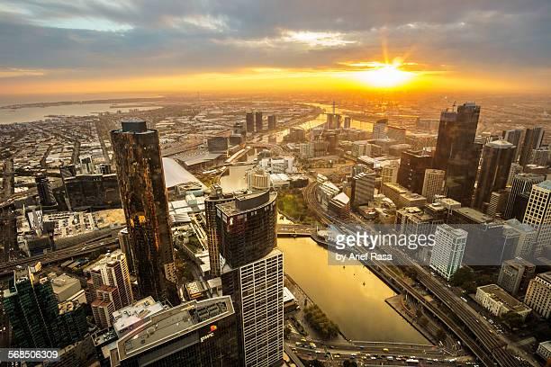 Golden Hour Melbourne cityscape