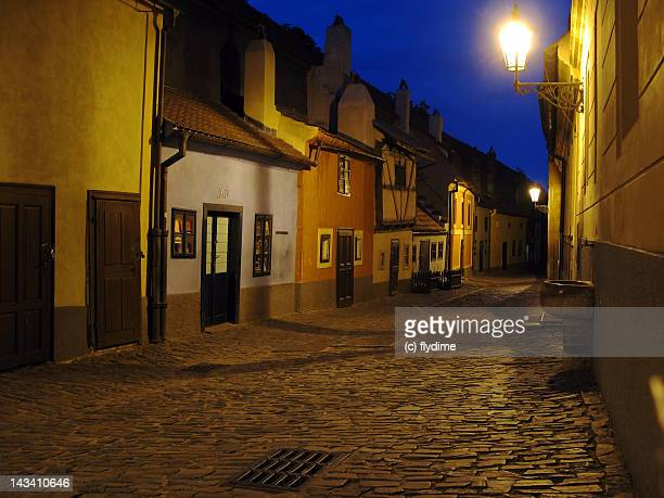 Golden lane street at night, Czech Republic