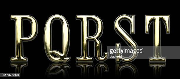 ゴールド文字-P Q 、R S T