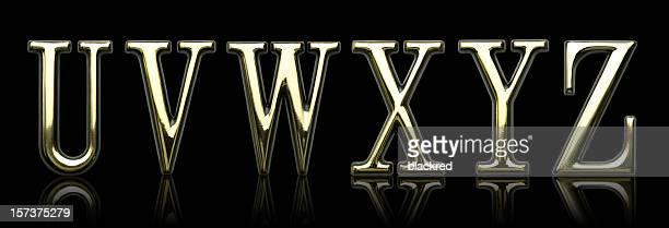 Golden lettres U, V, W, X, Y et Z
