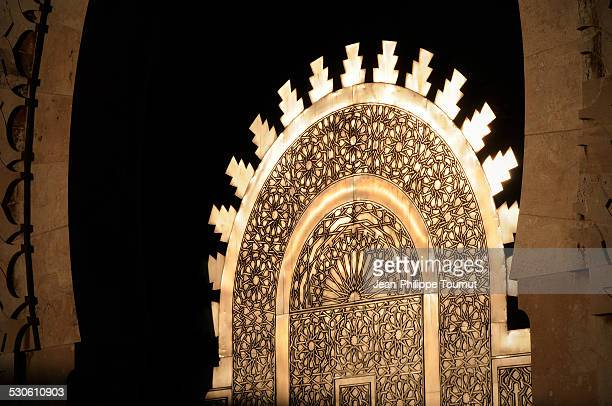Golden light reflection on Hassan II mosque door