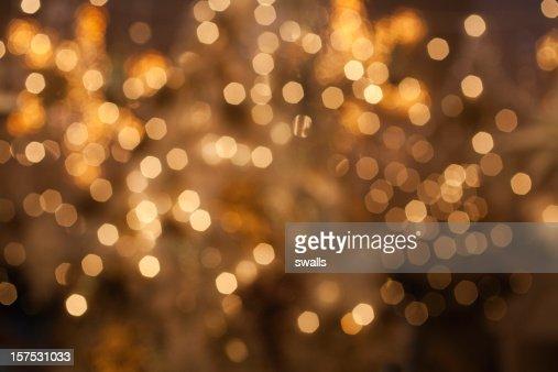 Golden lights defocused