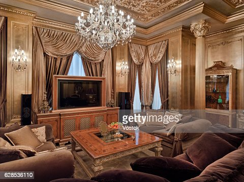 Golden Luxury Living Room In The Private House Stock Photo Getty - Golden living room