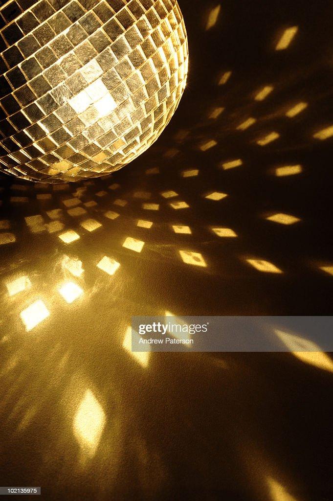 Golden mirror ball : Stock Photo
