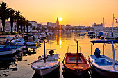 Golden morning sunrise in Split, city in Dalmatia, Croatia