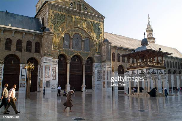 Golden mosaics on the facade of the prayer hall of the Umayyad Mosque in the Old Town of Damascus Syria Syria's main mosque was built in AD 705 A...
