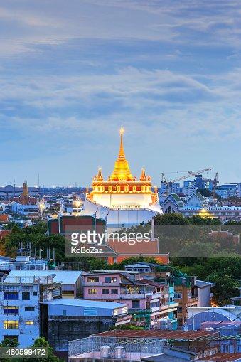 Golden Mountain Temple, Wat Saket Bangkok : Stock Photo