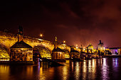 Night view of Charles Bridge in Prague, Czech Republic.