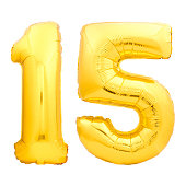 Golden number 15 fifteen made of inflatable balloon isolated on white background