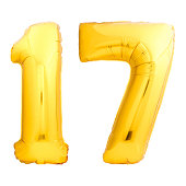 Golden number 17 seventeen made of inflatable balloon isolated on white background