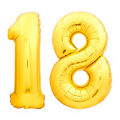 Golden number 18 eighteen made of inflatable balloon isolated on white background