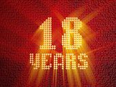 Golden number eighteen years (number 18 years) dotted font, top view, with light rays. 3D render