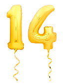 Golden number 14 fourteen made of inflatable balloon with golden ribbon isolated on white background